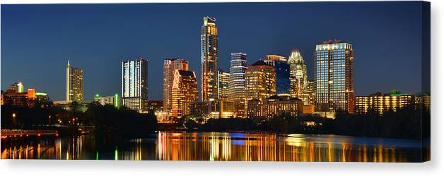 Austin Skyline At Night Color Panorama Texas Canvas Print Canvas Art By Jon Holiday