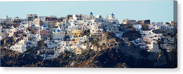 Darin Volpe Architecture Canvas Print featuring the photograph Living On The Edge -- Oia, Santorini by Darin Volpe