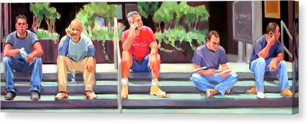 Figurative Canvas Print featuring the painting Lunch Break - Men at Work Series by Merle Keller