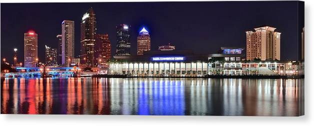 Tampa Canvas Print featuring the photograph Tampa Bay Panorama by Frozen in Time Fine Art Photography