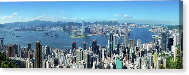 Corporate Business Canvas Print featuring the photograph Hong Kong Victoria Harbor At Day by Samxmeg