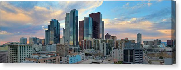 Scenics Canvas Print featuring the photograph Panoramic View Of Downtown Los Angeles by Chrisp0
