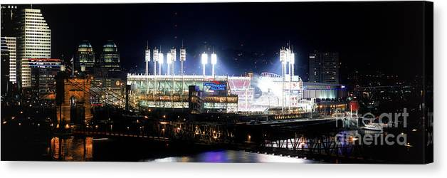 Great American Ball Park Canvas Print featuring the photograph Houston V Reds by Jerry Driendl