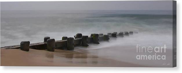 Misty Beach Morning - signed color panoramic version by Mark Miller