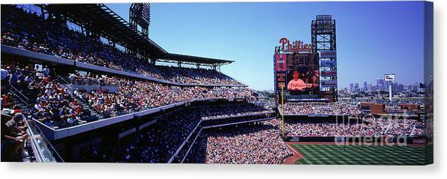 Panoramic Canvas Print featuring the photograph New York Mets V Philadelphia Phillies by Jerry Driendl