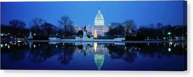 Scenics Canvas Print featuring the photograph Us Capitol And Christmas Tree by Walter Bibikow