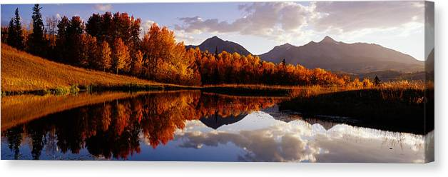 Water's Edge Canvas Print featuring the photograph Usa, Colorado, Telluride, Sunrise Peak by Jeremy Woodhouse