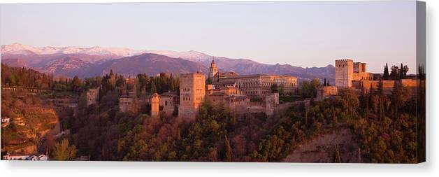 Scenics Canvas Print featuring the photograph View To The Alhambra At Sunset by David C Tomlinson