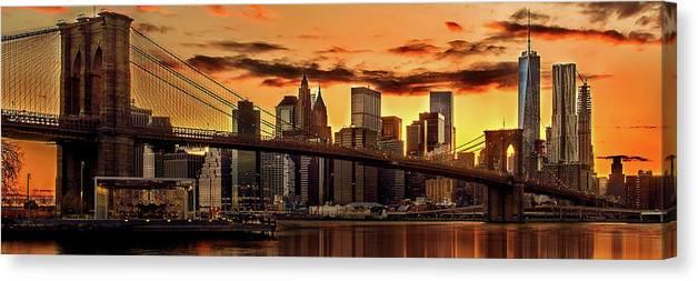 New York City Canvas Print featuring the photograph Fiery Sunset Over Manhattan by Az Jackson