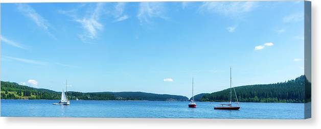 Color Canvas Print featuring the photograph Sailboats On The Lake Schluchsee by Vicen Photography