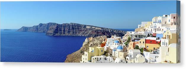 Scenics Canvas Print featuring the photograph Oia Panoramic, Santorini, Greece by Chrishepburn