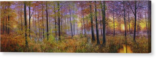 Wolf In A Fall Scene Canvas Print featuring the painting Autumn Wolves by Bill Makinson