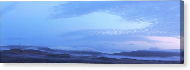 Tranquility Canvas Print featuring the photograph Snow Covered Hills And Mist At Dawn by Jeremy Walker