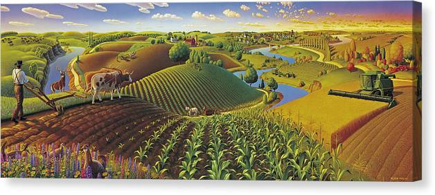 Farming Panorama Canvas Print featuring the painting Harvest Panorama by Robin Moline