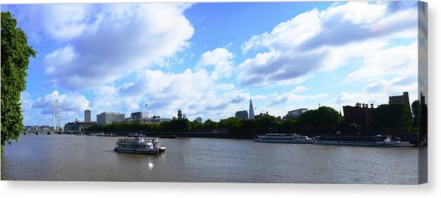 Cruise 2013 Canvas Print featuring the photograph Thames with Blue Sky and Puffy Clouds by Richard Henne
