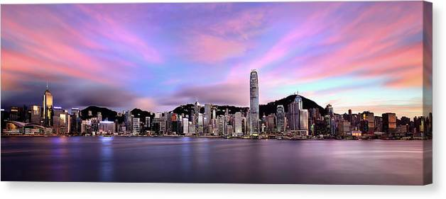 Tranquility Canvas Print featuring the photograph Victoric Harbour, Hong Kong, 2013 by Joe Chen Photography