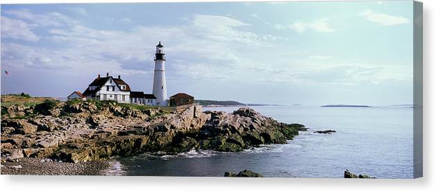 Extreme Terrain Canvas Print featuring the photograph Portland Head Lighthouse, Cape by Tony Sweet