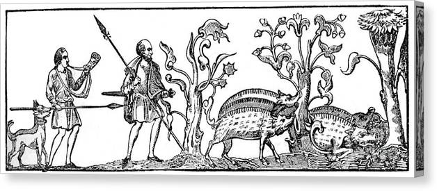 Engraving Canvas Print featuring the drawing Swine Hunting, 9th Century, 1833 by Print Collector