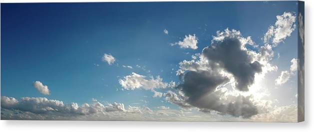 Panoramic Canvas Print featuring the digital art Blue Sky With Cumulus Clouds, Artwork by Leonello Calvetti