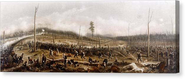 1863 Canvas Print featuring the painting Battle Of Chickamauga, 1863 by James Walker