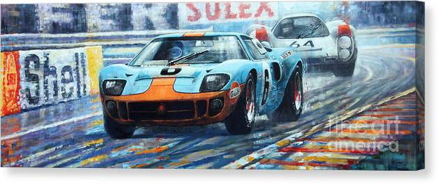 Paintings Canvas Print featuring the painting 1969 Le Mans 24 Ford GT 40 Ickx Oliver Winner by Yuriy Shevchuk