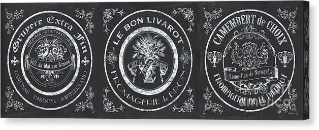 Cheese Canvas Print featuring the painting Chalkboard French Cheese Labels by Debbie DeWitt