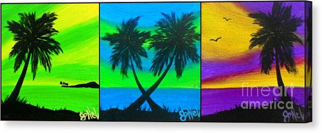 Beach Canvas Print featuring the painting Color Pop Palms by JoNeL Art