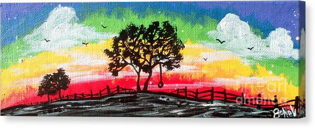 Rainbow Canvas Print featuring the painting End of the Rainbow by JoNeL Art
