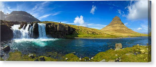 Iceland Canvas Print featuring the photograph Iceland panorama shot Kirkjufell by Matthias Hauser
