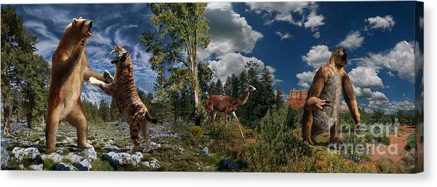 Paleoart Canvas Print featuring the digital art Pliocene - Pleistocene mural 2 by Julius Csotonyi
