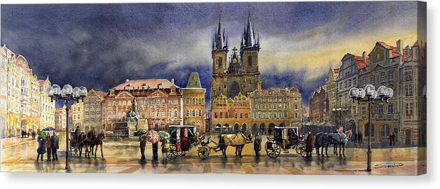 Watercolor Canvas Print featuring the painting Prague Old Town Squere After rain by Yuriy Shevchuk