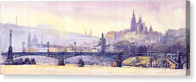 Watercolour Canvas Print featuring the painting Prague Panorama Chehuv Bridge by Yuriy Shevchuk