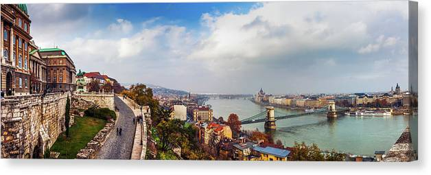 Hungarian Parliament Building Canvas Print featuring the photograph Budapest - Sweeping View by John And Tina Reid