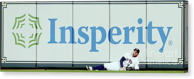 People Canvas Print featuring the photograph Khris Davis and George Springer by Bob Levey