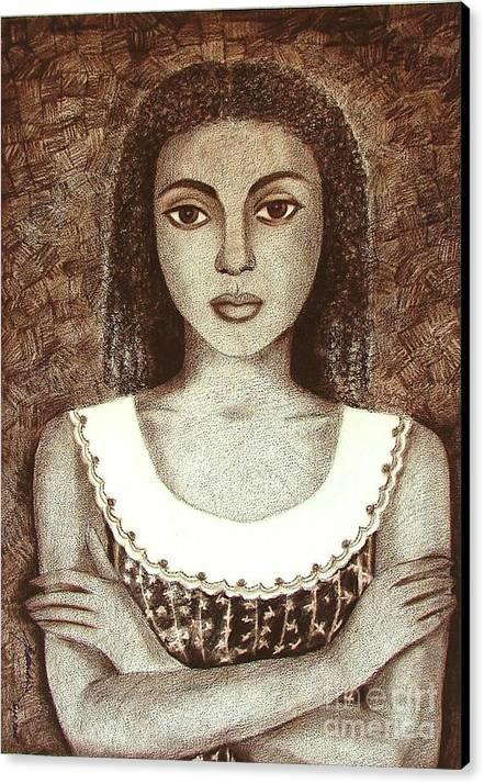 Figurative Canvas Print featuring the drawing Untitled by Padmakar Kappagantula