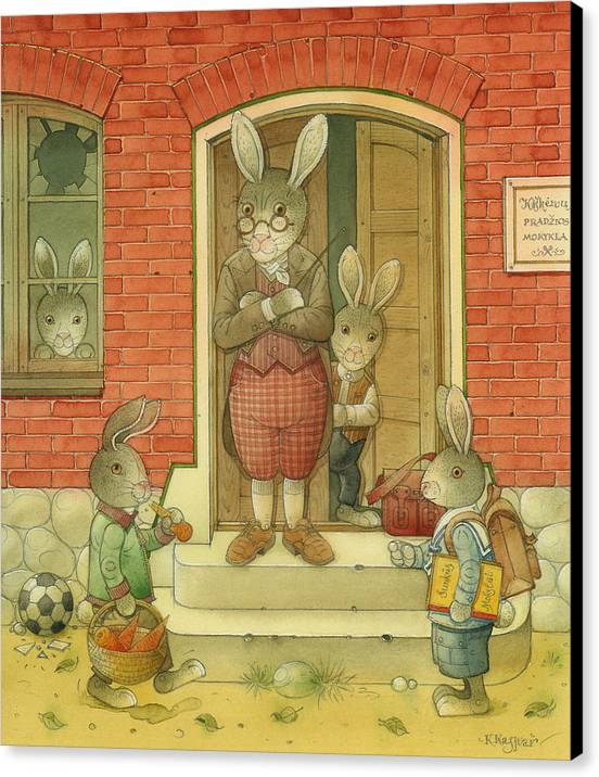 School Hare Red Teacher Canvas Print featuring the painting Hare School by Kestutis Kasparavicius