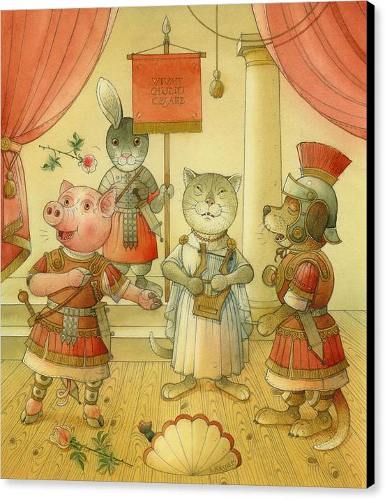 Opera Singer Animals Cat Pig Dog Rabbit Giulio Cesare Canvas Print featuring the painting Opera by Kestutis Kasparavicius