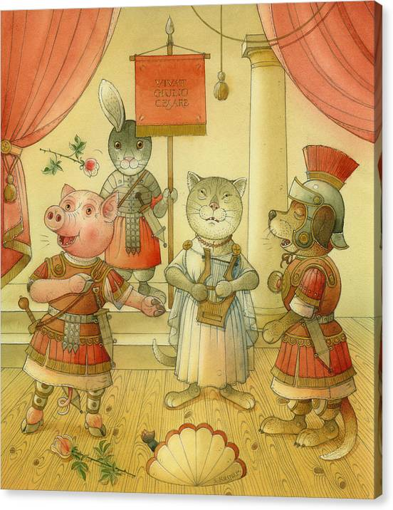 Opera Singer Animals Cat Pig Dog Rabbit Giulio Cesare Canvas Print featuring the painting Opera by Kestutis Kasparavicius