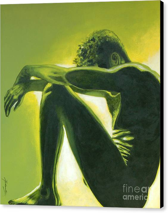 Figurative Canvas Print featuring the painting Soliloquy by Padmakar Kappagantula