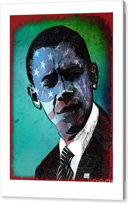 Obama Canvas Print featuring the digital art Obama-4 by Chris Van Es
