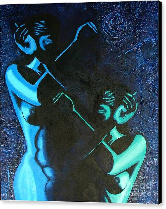 Figurative-abstract Canvas Print featuring the painting My Disownment by Padmakar Kappagantula