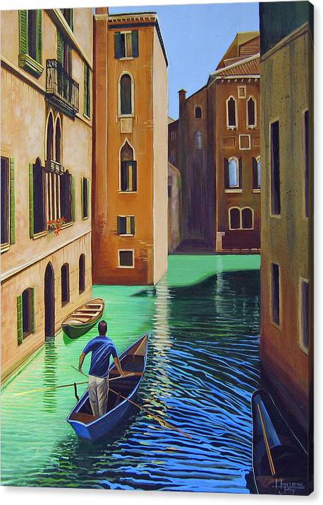Canal In Venice Canvas Print featuring the painting Remembering Venice by Hunter Jay