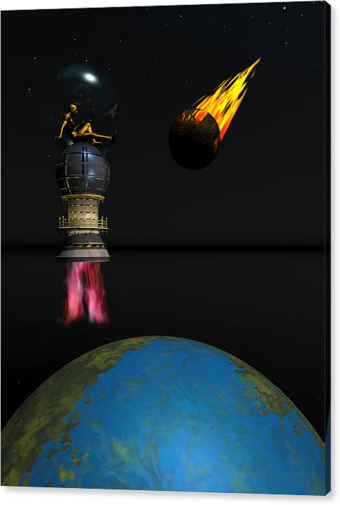 Bryce 3d Fantasy Meteor Scifi Canvas Print featuring the digital art Meteor Chaser by Claude McCoy