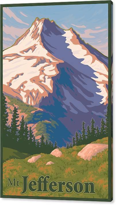 Vintage Mount Jefferson Travel Poster by Mitch Frey