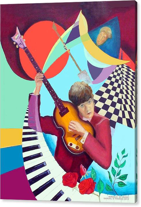 Paul Mccartney Canvas Print featuring the painting Paul With Out Numbers by Samuel Thomas