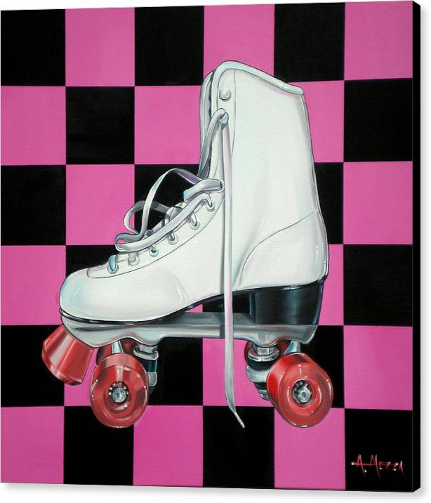 Roller Skate Canvas Print featuring the painting Roller Skate by Anthony Mezza