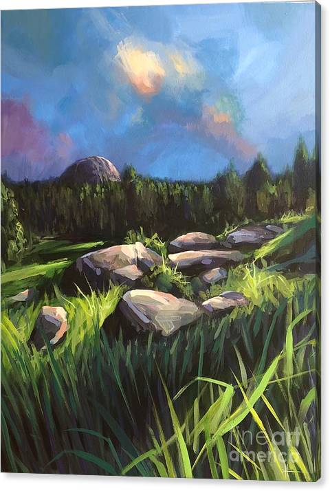 Landscape Canvas Print featuring the painting I Could Be Happy Here by Hunter Jay