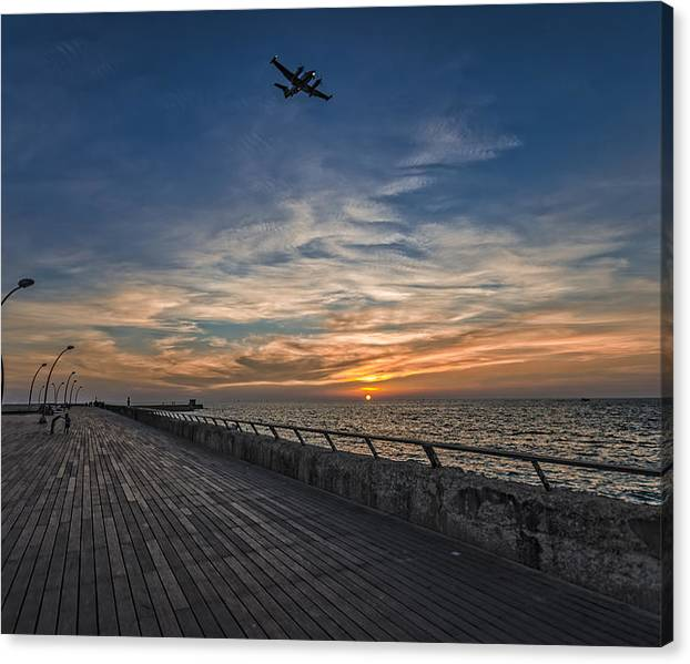 Limited Time Promotion: A Kodak Moment At The Tel Aviv Port Stretched Canvas Print