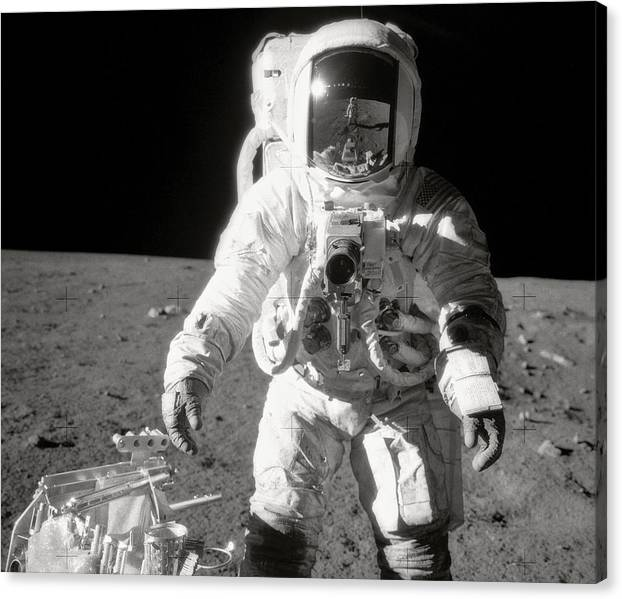 Limited Time Promotion: Apollo 12 Moonwalk - 1969 Stretched Canvas Print