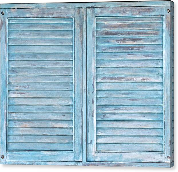 Limited Time Promotion: Blue Faded Shutter Of Aruba Iii Stretched Canvas Print